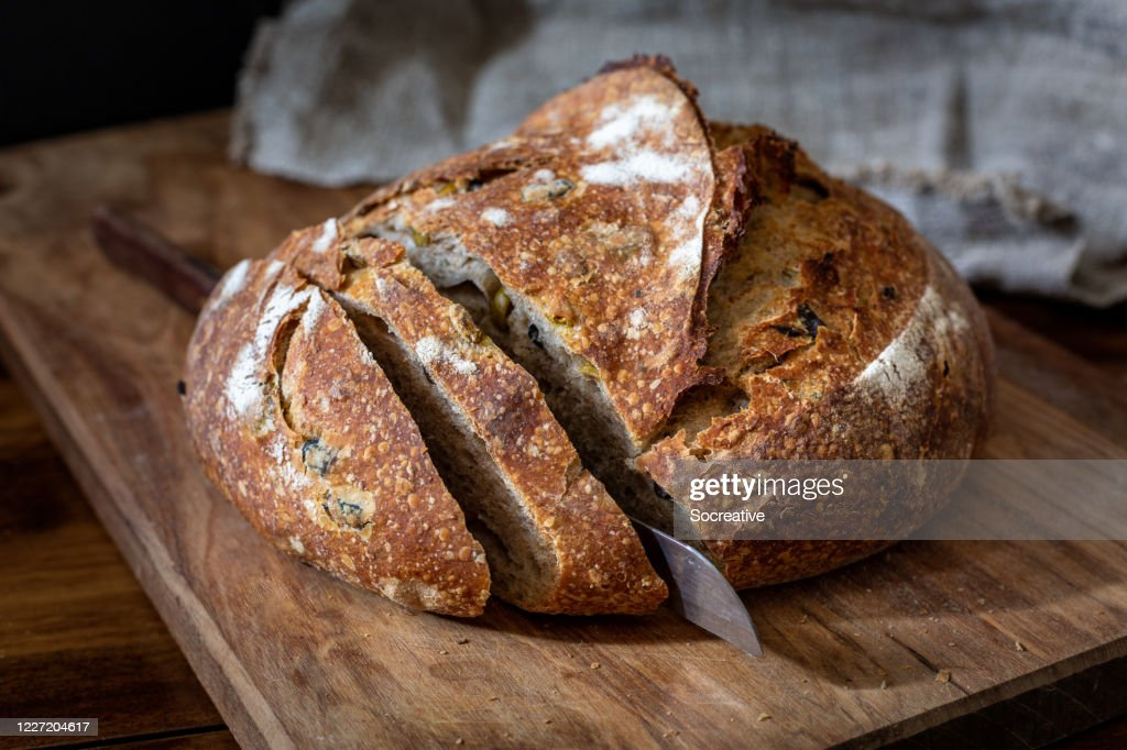 Olive and rosemary sourdough bread : Stock Photo