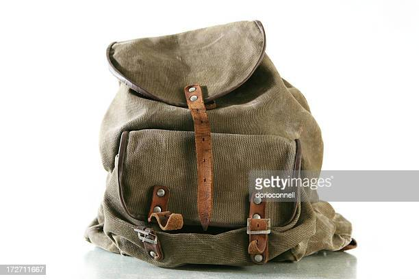 Olive green backpack with brown leather accents