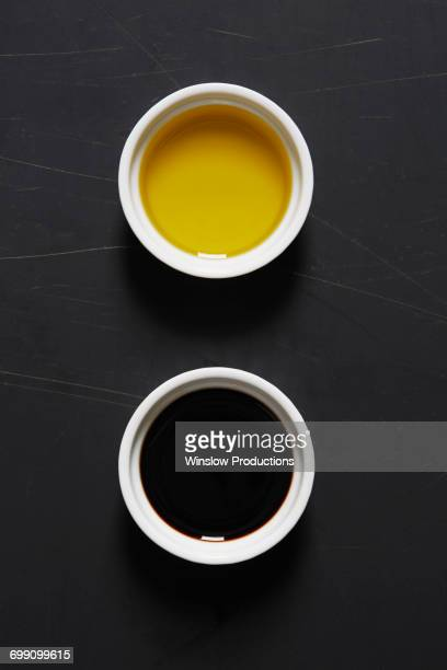 Olive oil and vinegar in bowls