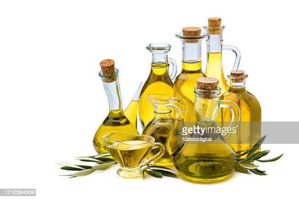 olive oil bottles collection isolated on white background - extra virgin olive oil stock pictures, royalty-free photos & images