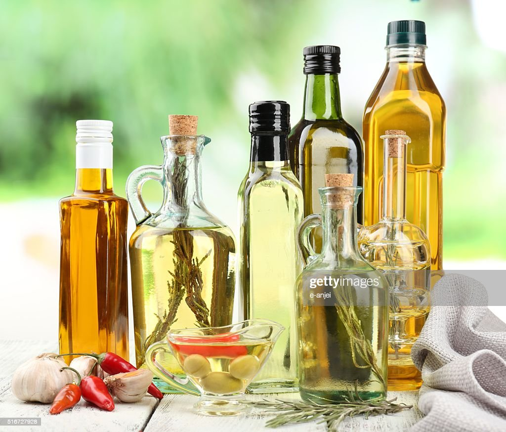 olive oil in bottles : Stock Photo