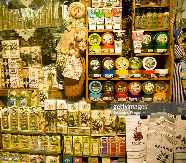 Olive oil souvenir products display Rhodes Greece