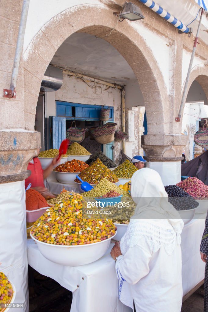 Olive stall in Essaouira, Morocco : Stock Photo