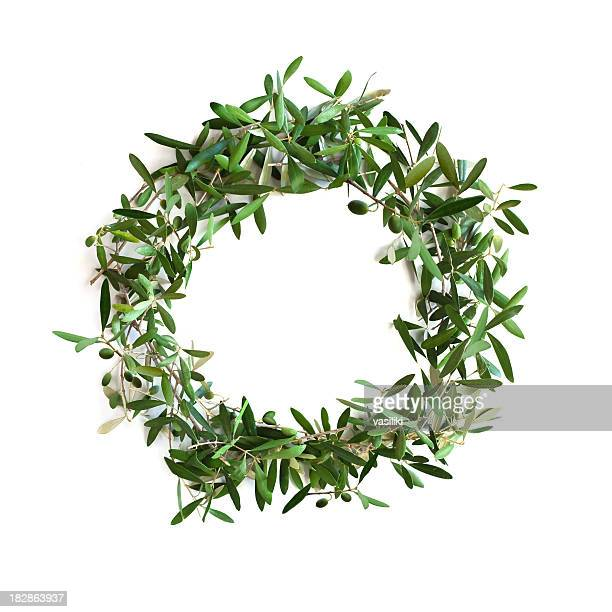 olive tree branch wreath - coronation stock pictures, royalty-free photos & images