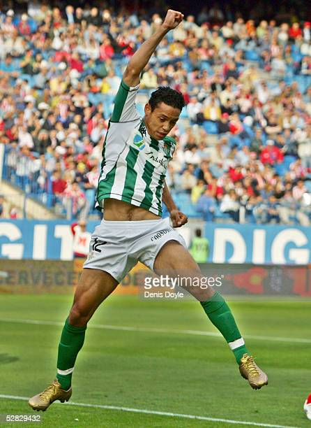 Oliveira of Betis celebrates after scoring a goal during a La Liga match between Atletico Madrid and Betis at the Calderon on May 15 2005 in Madrid...