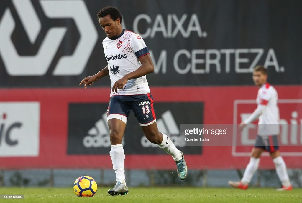 UD Oliveirense defender Felix Mathaus from Cape Verde in action during the Segunda Liga match between SL Benfica B and UD Oliveirense at Caixa Futebol Campus on January 13, 2018 in Seixal, Portugal.