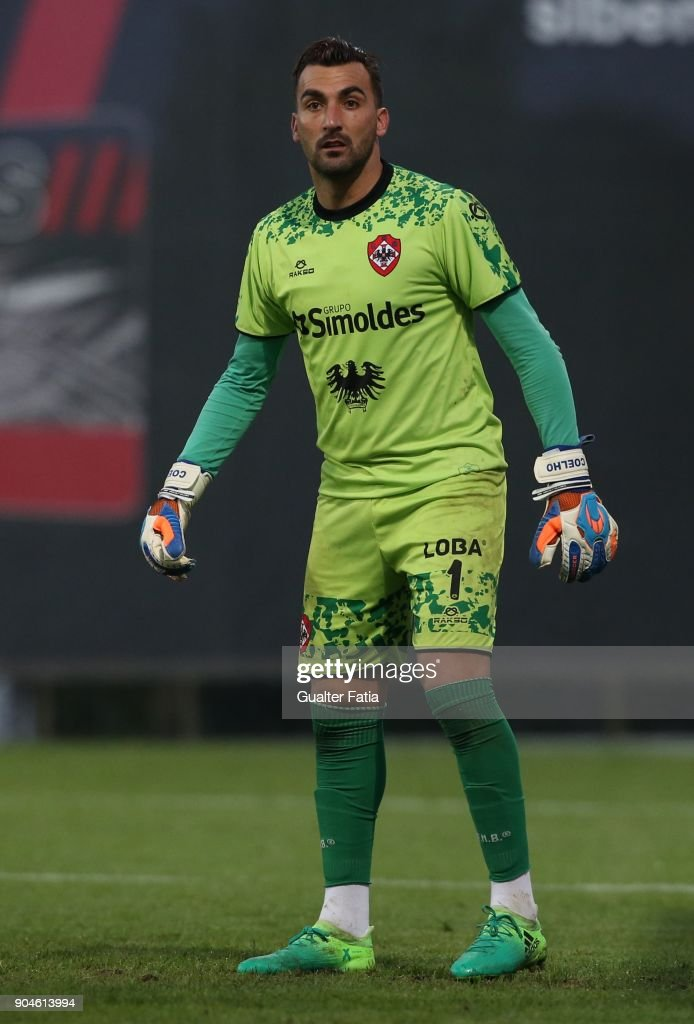 UD Oliveirense goalkeeper Coelho from Portugal in action during the Segunda Liga match between SL Benfica B and UD Oliveirense at Caixa Futebol Campus on January 13, 2018 in Seixal, Portugal.