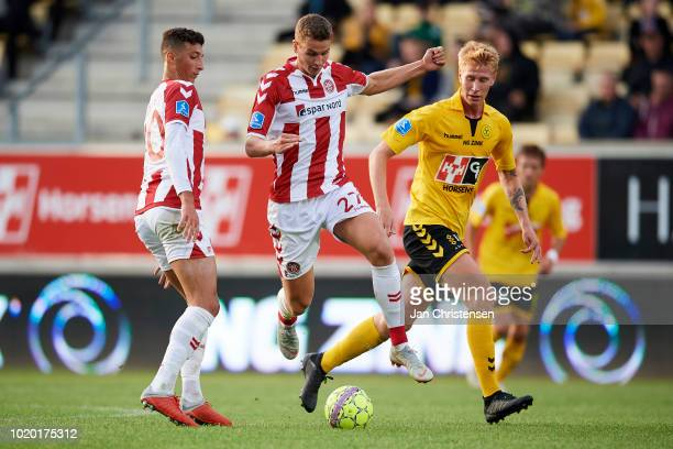 Oliver Abildgaard of AaB Aalborg in action during the Danish Superliga match between AC Horsens and AaB Aalborg at Casa Arena Horsens on August 20...