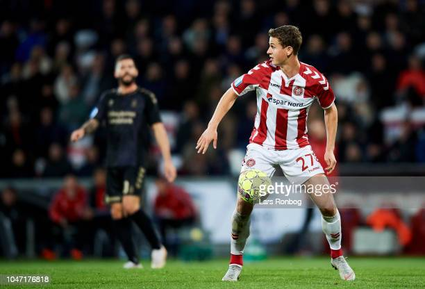 Oliver Abildgaard of AaB Aalborg in action during the Danish Superliga match between AaB Aalborg and Brondby IF at Aalborg Portland Park on October 7...