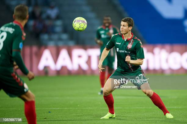 Oliver Abildgaard of AaB Aalborg in action during the Danish Superliga match between AGF Arhus and AaB Aalborg at Ceres Park on October 21 2018 in...
