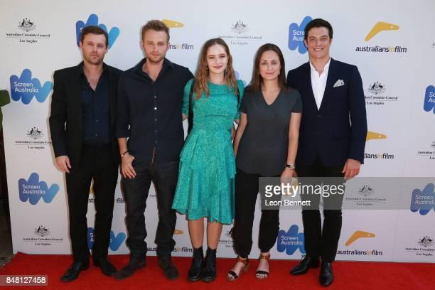 Oliver Ackland Matt Levett Ashleigh Cummings Kate Marks and James Mackay attends The 2017 Australian Emmy Nominee Sunset Reception on September 16...