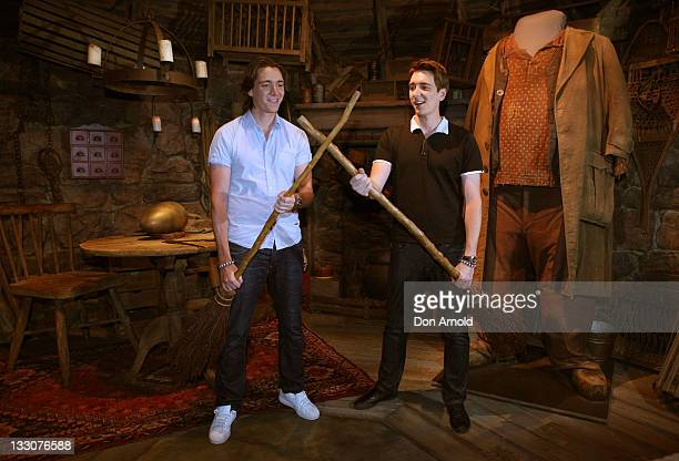 Oliver and James Phelps pose at the Powerhouse Museum on November 17 2011 in Sydney Australia