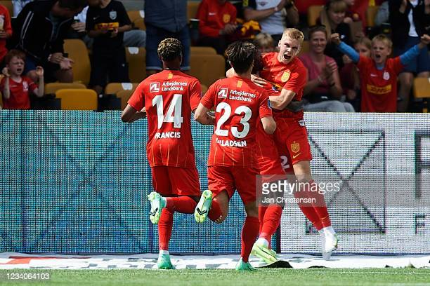 Oliver Antman of FC Nordsjalland and team mates celebrating his 1-0 goal during the Danish 3F Superliga match between FC Nordsjalland and Viborg FF...