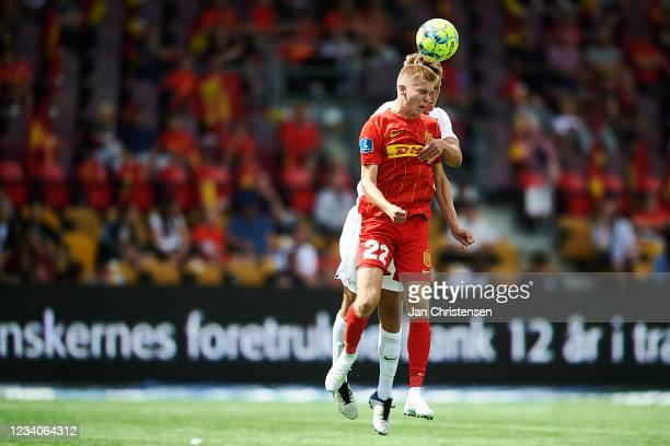 Oliver Antman of FC Nordsjalland compete for the ball during the Danish 3F Superliga match between FC Nordsjalland and Viborg FF at Right to Dream...
