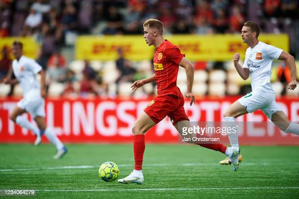 Oliver Antman of FC Nordsjalland in action during the Danish 3F Superliga match between FC Nordsjalland and Viborg FF at Right to Dream Park on July...