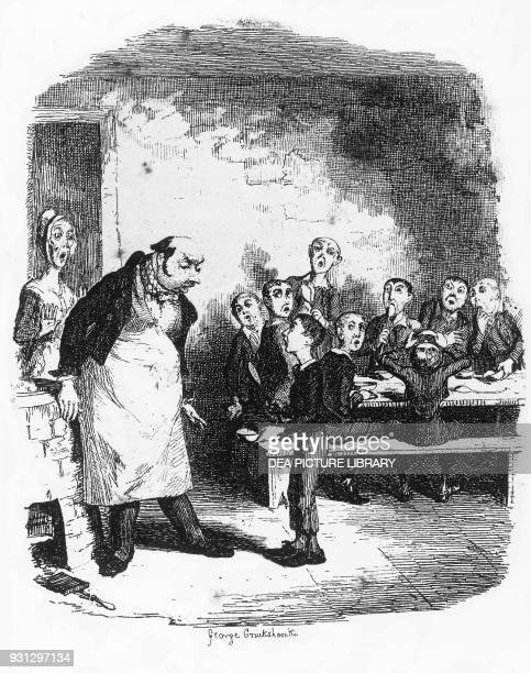 Oliver asking for more illustration by George Cruikshank for Oliver Twist or The Parish Boy's Progress novel by Charles Dickens from the Bentley's...
