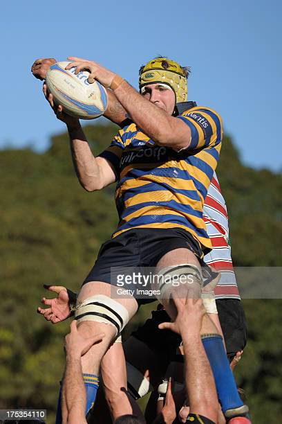 Oliver Atkins catching the ball from a lineout during the round X Shute Shield match between Sydney Uni and Southern Districts at North Sydney Oval...