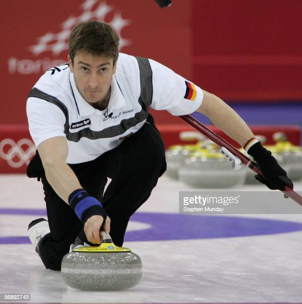 Oliver Axnick of Germany throws the stone during the preliminary round of the men's curling between New Zealand v Germany during Day 10 of the Turin...