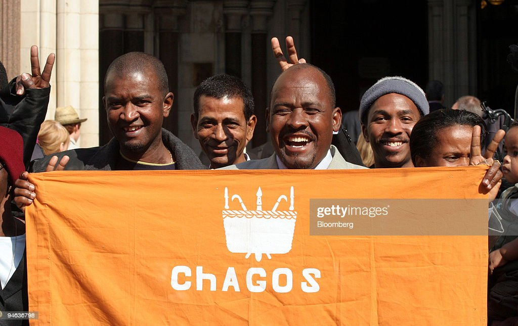 Oliver Bancoult, center right, celebrates with other Chagos : News Photo