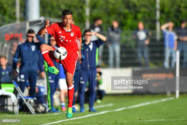 Oliver Batista Meier of Bayern Muenchen plays the ball during the B Juniors German Championship Semi Final between Bayern Muenchen and FC Schalke 04...