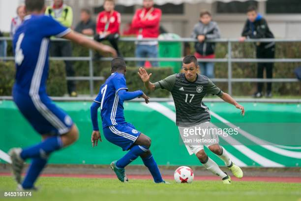 Oliver Batista Meier of Germany and Ido Shahar of Israel fight for the ball during the 'Four Nations Tournament' match between U17 Germany and U17...