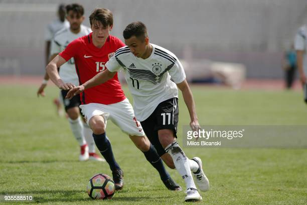 Oliver Batista Meier of Germany celebrate a goal during the Germany vs Norway U17 at Pampeloponnisiako Stadium on March 21 2018 in Patras Greece