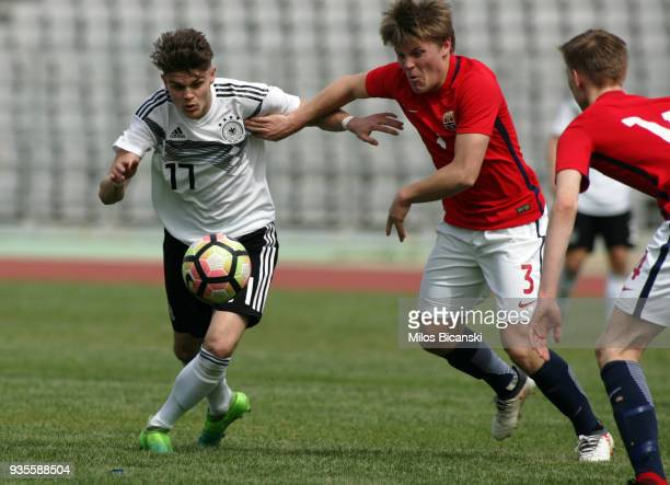 Oliver Batista Meier of Germany in action during the Germany vs Norway U17 at Pampeloponnisiako Stadium on March 21 2018 in Patras Greece