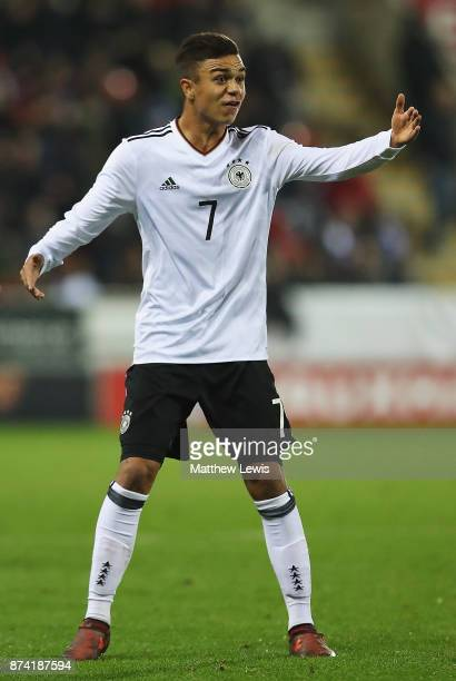 Oliver Batista Meier of Germany in action during the International Match between England U17 and Germany U17 at The New York Stadium on November 14...