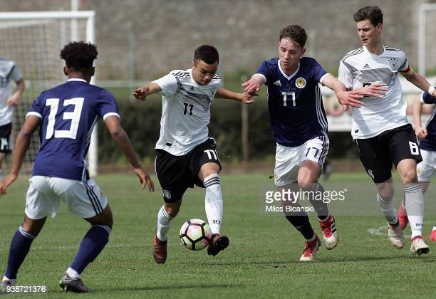 Oliver Batista Meier of Germany in action during the U17 European Championship Elite round match between Germany and Scotland at Etniko Stadio...