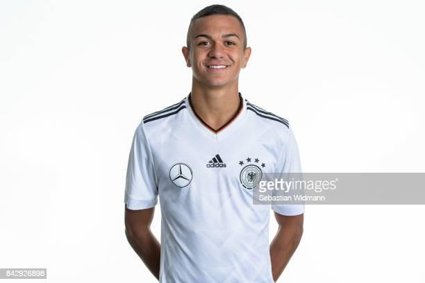 Oliver Batista Meier poses during the Germany U17 team presentation on September 5 2017 in Haarbach Germany