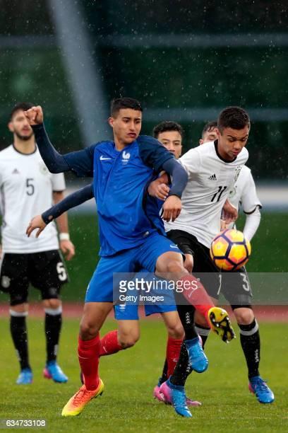 Oliver BatistaMeier of Germany U16 challenges Aimen Moueffek of France U16 during the UEFA Development Tournament Match between Germany U16 and...