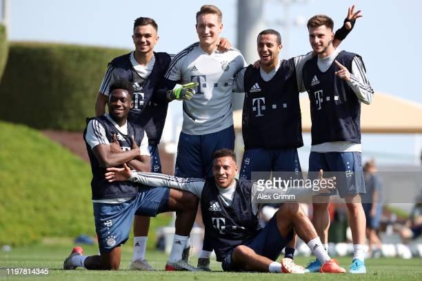 Oliver Batista-Meier, Ron-Thorben Hoffmann, Thiago Alcantara, Leon Dajaku , Alphonso Davies and Corentin Tolisso pose for a picture during day three...