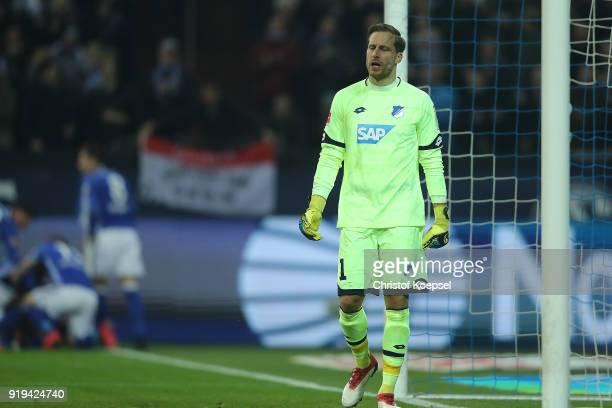 Oliver Baumann of Hoffenheim looks dejected after Thilo Kehrer of Schalke scored a goal to make it 10 during the Bundesliga match between FC Schalke...