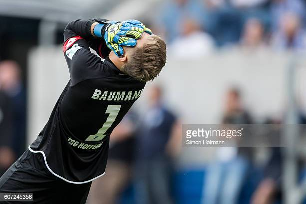 Oliver Baumann of Hoffenheim reacts during the Bundesliga match between TSG 1899 Hoffenheim and VfL Wolfsburg at Wirsol RheinNeckarArena on September...