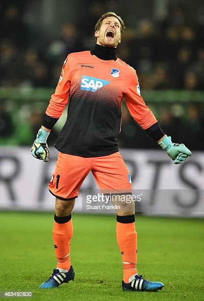 Oliver Baumann of Hoffenheim reacts during the Bundesliga match between VfL Wolfsburg and 1899 Hoffenheim at Volkswagen Arena on February 7, 2015 in...
