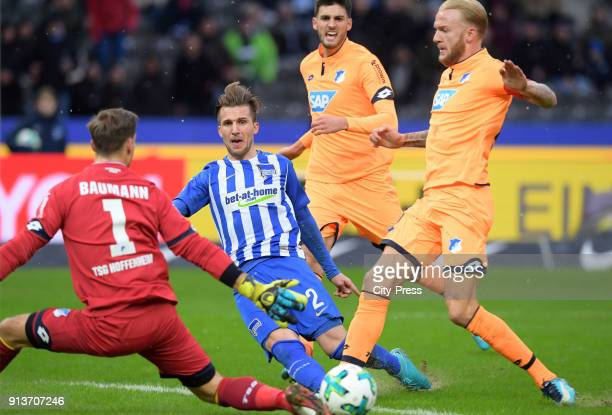 Oliver Baumann of the TSG 1899 Hoffenheim Peter Pekarik of Hertha BSC Florian Grillitsch and Kevin Vogt of the TSG 1899 Hoffenheim during the game...