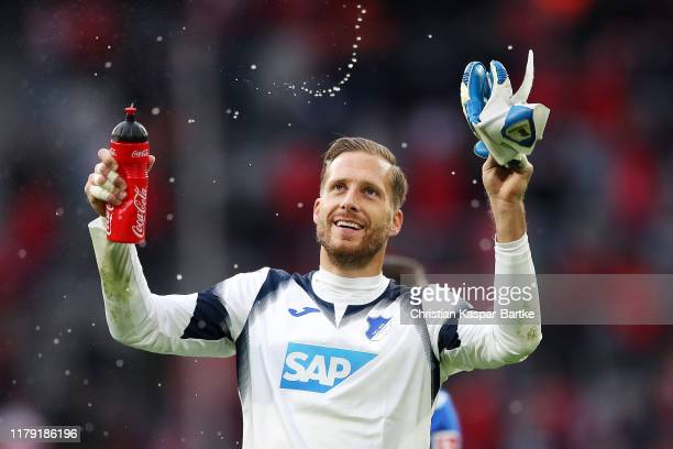 Oliver Baumann of TSG 1899 Hoffenheim celebrates after the Bundesliga match between FC Bayern Muenchen and TSG 1899 Hoffenheim at Allianz Arena on...