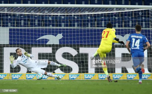 Oliver Baumann of TSG 1899 Hoffenheim saves a penalty from Anthony Modeste of 1. FC Koeln during the Bundesliga match between TSG Hoffenheim and 1....