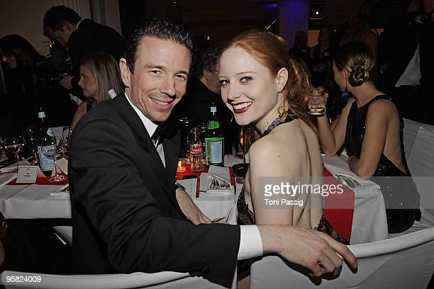 Oliver Berben and girlfriend model Barbara Meier attend the 37 th German Filmball 2010 at the hotel Bayrischer Hof on January 16 2010 in Munich...