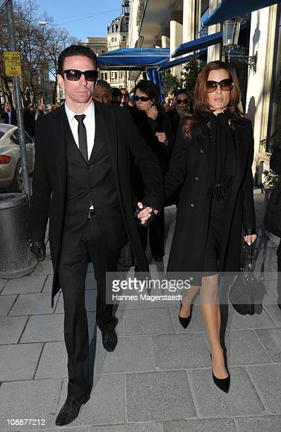 Oliver Berben and his girlfriend Iris Tanz attend the memorial service for Bernd Eichinger at the St Michael Kirche on February 07 2011 in Munich...