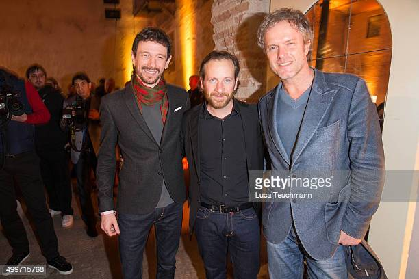 Oliver Berben; Fabian Busch and Christoph Mueller attend the Medienboard Pre-Christmas Party 2015 on December 2, 2015 in Berlin, Germany.