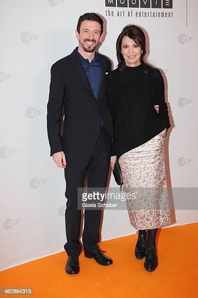 Oliver Berben producer and mother Iris Berben attend the premiere of the film 'Der Clan Die Geschichte der Familie Wagner' at Gloria Palast on...