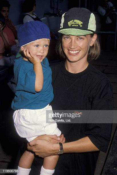 Oliver Bernsen and Amanda Pays during Hollywood AllStar Game at Dodger Stadium in Los Angeles California United States