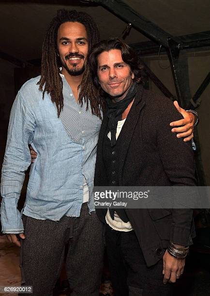 Oliver Best and Greg Lauren attend the Greg Lauren For Banana Republic Event at Greg Lauren Studio on November 30 2016 in Los Angeles California