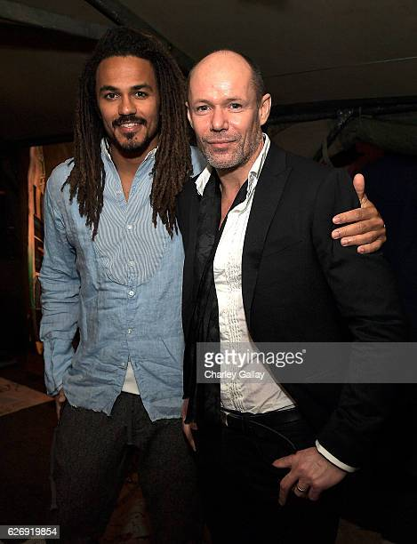 Oliver Best and Senior Vice President of Design Banana Republic Michael Anderson attend the Greg Lauren For Banana Republic Event at Greg Lauren...