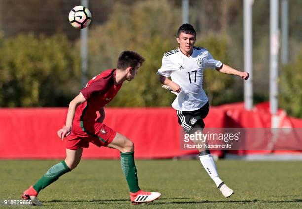 Oliver Bias of Germany U17 challenges Bernardo Silva of Portugal U17 during U17Juniors Algarve Cup match between U17 Portugal and U17 Germany at Bela...