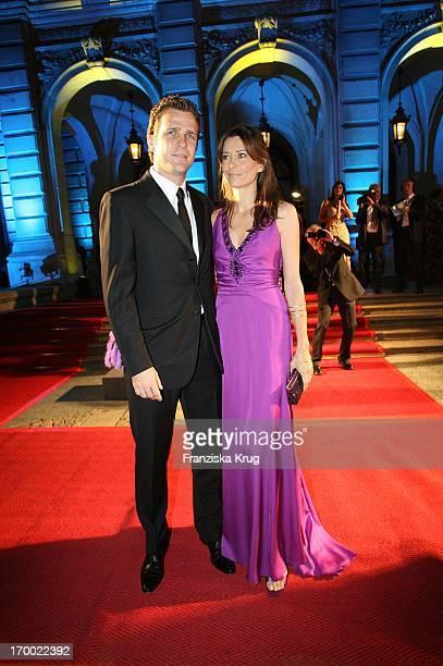 Oliver Bierhoff and his wife Klara In 24th German Sportpresseball On In The Old Opera House in Frankfurt 291005
