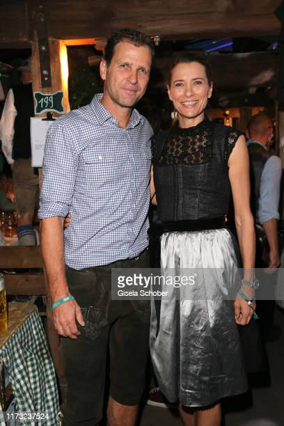 Oliver Bierhoff and his wife Klara Szalantzy during the Oktoberfest 2019 at Kaeferschaenke beer tent at Theresienwiese on October 2 2019 in Munich...
