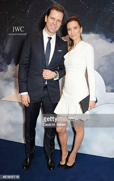 Oliver Bierhoff and Klara Szalantzy attend the IWC 'Journey To The Stars' Gala Dinner during the Salon International de la Haute Horlogerie 2015 on...