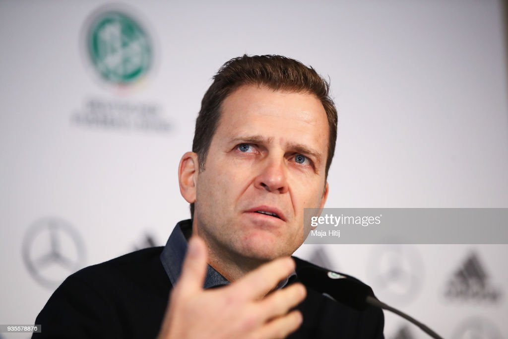 Oliver Bierhoff attends a Germany press conference ahead of their international friendly match against Spain at Hilton Hotel on March 21, 2018 in Duesseldorf, Germany.